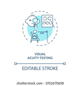 Visual acuity testing concept icon. Eye screening for children. Eye exam that checks how you can naturaly see idea thin line illustration. Vector isolated outline RGB color drawing. Editable stroke