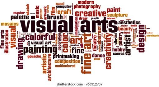 Visual arts word cloud concept. Vector illustration
