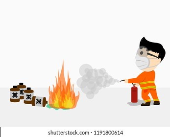 Visual cartoon at fireman in uniform primary firefighters using extinguisher spray by high pressure nozzle from hose for fire fighting in operation from chemical to fire surround with smoke set 2