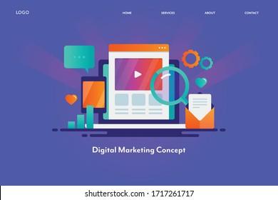 Visuelles Konzept des digitalen Marketings, Online-Marketingkampagne, Werbetechnologie - Vektorillustration-Illustration, Vorlage für die Zielseite