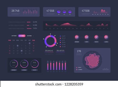 Visual data graphics. Control admin panel with charts column diagrams. Modern infographic ui vector interface