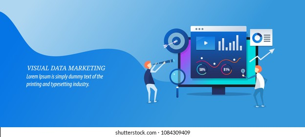 Visual data marketing - Business data, Data driven marketing flat vector illustration