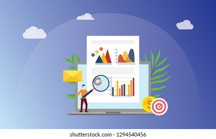 visual data marketing concept with business man people with magnifying glass analyze data graph and chart finance on paper document - vector illustration