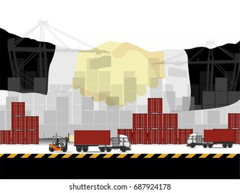 Visual double exposure drawing handshake businessman on business industrial containers logistic concept for loading to import and export background of illustrator