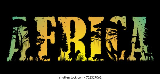 Visual drawing of Africa text design and silhouette of animal in Africa landscape with wildlife and sunset background for vector illustration