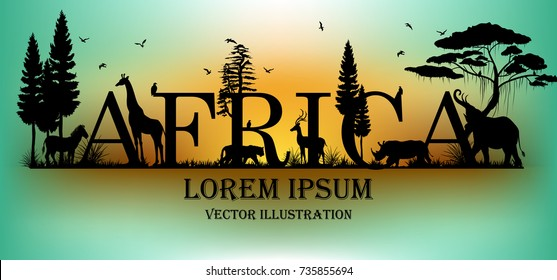 Visual drawing of africa text design and silhouette of animal in Africa landscape with wildlife and aurora background for vector illustration