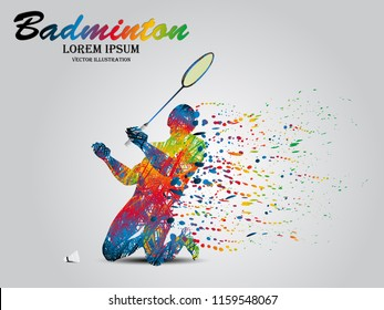 Visual drawing badminton sport at fast of speed on stadium, the winner game, colorful beautiful design style on white background for vector illustration, exercise sport concept