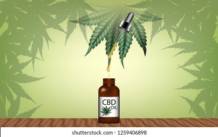 Visual drawing of banner design extraction to marijuana (CBD) product ads on green natural background for vector illustration