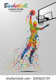 Visual drawing basketball sport and jumper at fast of speed on stadium , colorful beautiful design style on white background for vector illustration, exercise sport concept