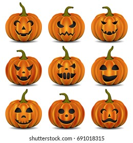 Visual drawing for beautiful big collection of pumpkins mood smiles in Halloween day with white background of vector illustration set 1 of 3