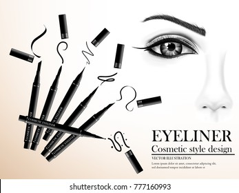 Visual drawing for black eyeliner cosmetic color in style design use with face with pink and white background, Beauty article of vector illustration