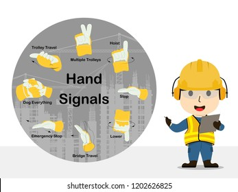 Visual drawing of cartoon at engineer or achievement in construction or Industrial working, hand signals tool, concept health care and safety first, vector illustrator set 10