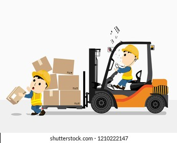 Visual drawing of cartoon at engineer working and driving forklift car impact to worker for accident in industrial, concept health care and safety first, vector illustration set 13