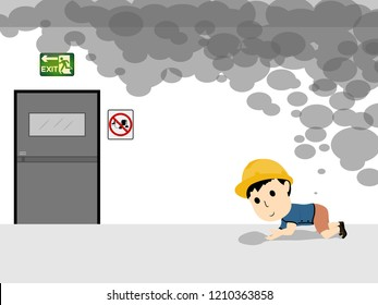 Visual drawing of cartoon human flat bent escape smoke to exit door because emergency alarm to accident in areas of the building industrial, concept health care and safety first set 15