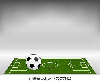 Visual drawing football and football field or soccer field with light black and white background for vector illustration