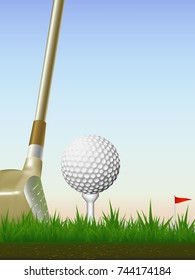 Visual drawing of golf ball and golf club beautiful to start hitting out on grass and sky evening time with background for vector illustration, exercise golf sport concept