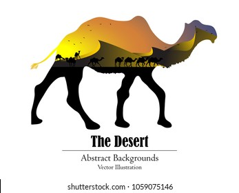 Visual drawing isolated camel of silhouettes camel family animal wildlife collection in the desert with nature and sunset background for vector illustration,travel concept