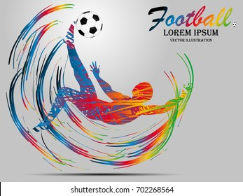 Visual drawing man playing sport soccer of side view, healthy lifestyle and sport concepts,abstract soccer game colorful vector illustration , set 7 of 7