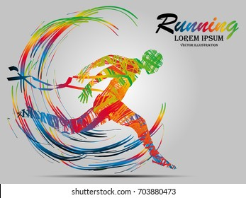 Visual drawing man playing sport run of side view, healthy lifestyle and sport concepts,abstract run game colorful vector illustration