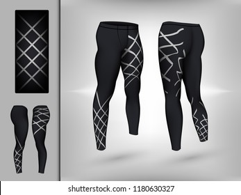 Visual drawing of model pants elastic long leggings, quick dry, firmly compressed for male athletes use fitness and jogging workout for vector illustration set 1