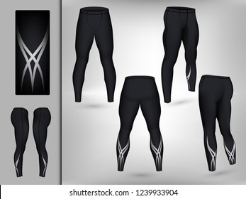 Visual drawing of model pants elastic long leggings, quick dry, firmly compressed for male athletes use fitness and jogging workout for vector illustration set 8