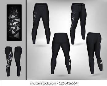Visual drawing of model pants elastic long leggings, quick dry, firmly compressed for male athletes use fitness and jogging workout for vector illustration set 10