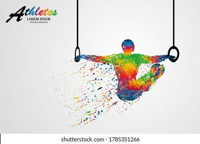 Visual drawing movement to athletes gymnastic still rings sport at fast of speed on stadium, colorful beautiful design style on white background for vector illustration, exercise sport concept