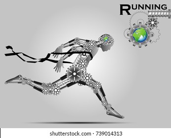 Visual drawing of robot for gear technology industrial, running and crossing a finish line winning a race,healthy lifestyle and sport concepts,abstract black and white vector illustration