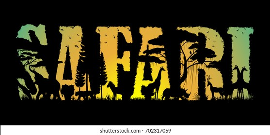 Visual drawing of Safari text design and silhouette of animal in Africa landscape with wildlife and sunset background for vector illustration