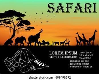 Visual drawing silhouette of animal wildlife in Africa with wild and sunset background for vector illustration,travel concept