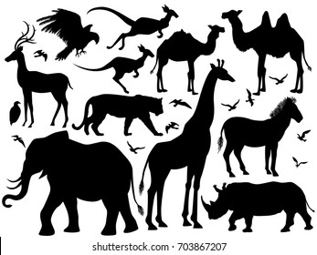 Visual drawing silhouette of animal wildlife in the world for vector illustration, rhino, tiger, deer, zebra, giraffe, kangaroo, elephant, bird, camel, eagle or hawk