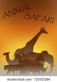 Visual drawing silhouettes of beautiful animal wildlife collection in Africa or Savannah, abstract sunset background for vector illustration