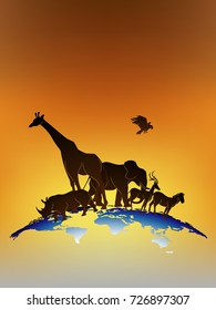 Visual drawing silhouettes of beautiful animal wildlife collection in Africa or Savannah, concept animal in the world, abstract sunset background for vector illustration set 1 of 5