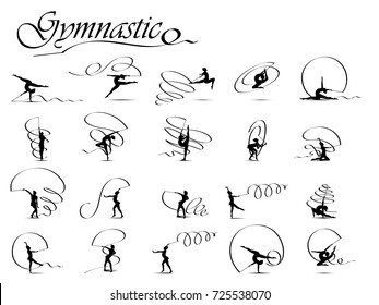Visual drawing silhouettes of gymnastic game collection,healthy lifestyle and sport concepts,abstract black and white vector illustration