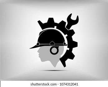 Visual drawing silhouettes of logo construction industry engineer for worker team to work safety with business concept with to vector illustration, set 2 of 13
