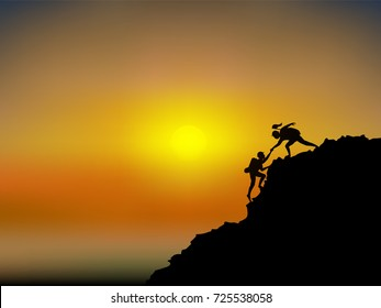 Visual drawing silhouettes of male and female hikers climbing up mountain with safety equipment and sunset in sea of background for vector illustration