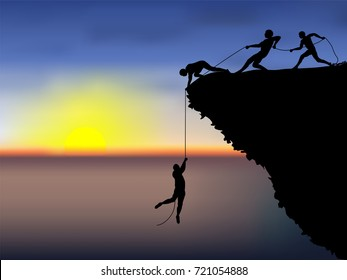 Visual drawing silhouettes of male hikers climbing up mountain and one of them giving hand and helping, support in a dangerous situation to climb and sunset of background for vector illustration