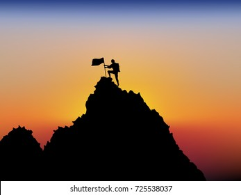 Visual drawing silhouettes of male hikers climbing up mountain to finish peaks with safety equipment and sunset in sea of background for vector illustration