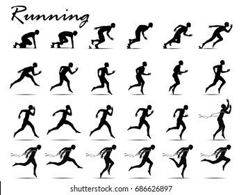 Visual drawing silhouettes of runner from start to finish collection,running and crossing a finish line winning a race,healthy lifestyle and sport concepts,abstract black and white vector illustration