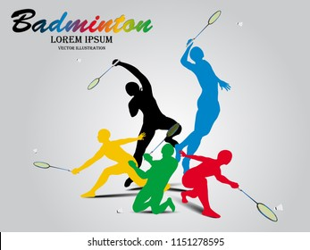 Visual drawing sport badminton stages of side view, abstract colorful vector illustration, healthy lifestyle and sport concepts,abstract badminton game colorful vector illustration