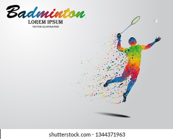 Visual drawing of sport man in start badminton game at fast of speed on stadium, colorful beautiful design style on white background for vector illustration, exercise sport concept set 4