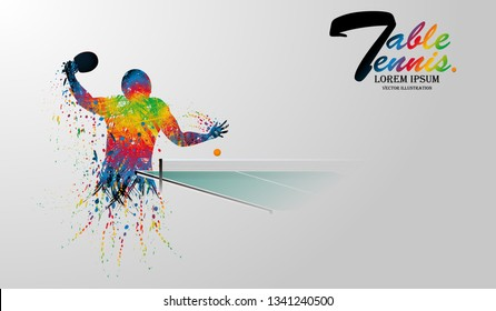 Visual drawing table tennis sport movement step of front view, healthy lifestyle and sport concepts,abstract in game colorful vector illustration