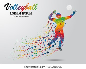 Visual drawing volleyball sport at fast of speed in game, colorful beautiful design style on white background for vector illustration, exercise sport concept, winner championship
