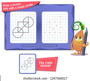 Visual educational game for children and adults. coloring book for brain development and iq. Task game draw a picture only with a single stroke