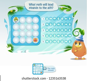 Visual educational game, for kids and adults, development of logic, iq. Task game what path will lead Pingvin to the gift.