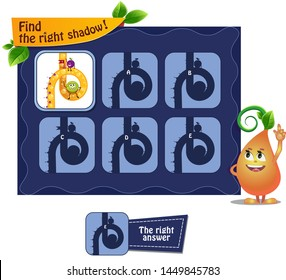 visual game for children and adults. Task game the find right shadow with  funny fruits.