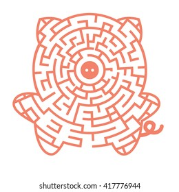 Visual game for Preschool Children. Funny maze game for kids with pig. Vector Labyrinth for preschool children. Rebus or quiz for school