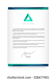 Visual identity with letter logo elements polygonal style Letterhead and geometric triangular design style brochure cover template mockups for business with Fictitious name