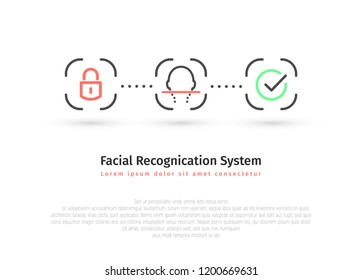 Visual infographics facial recognition system minimalistic design vector illustration. Face id isolated icon set