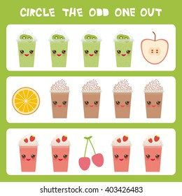 Visual logic puzzle Circle the odd one out. Kawaii colorful apple coffee smoothies orange cherry with pink cheeks and winking eyes, pastel colors on white background. Vector
